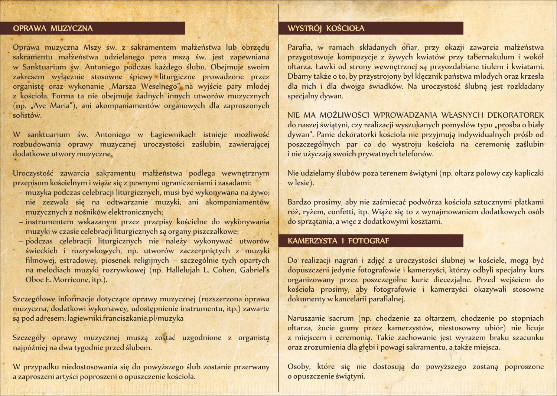 Informacje Do ślubu Str 2 I 3 Sanktuarium św Antoniego
